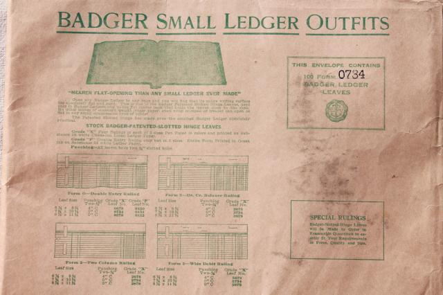 new old stock vintage ledger book sheets, blank lined paper for altered art paper or craft