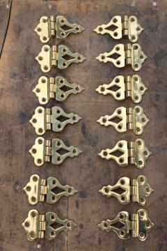 new old stock vintage polished brass cabinet door hinges, surface mount hardware