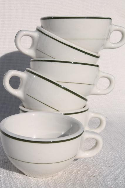new old stock vintage restaurant china coffee cups, heavy white ironstone w/ green band
