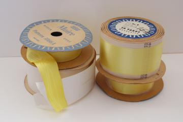 new old stock vintage sewing trim, rolls of ribbon woven edge satin & taffeta rayon