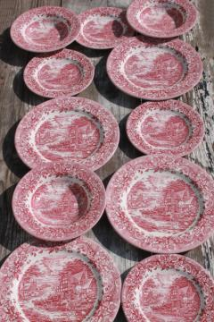 new red transferware china plates & bowls 17th century Staffordshire engraving