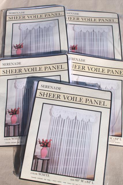 new unused vintage sheer voile curtains, curtain panels long white sheers mint in pkg