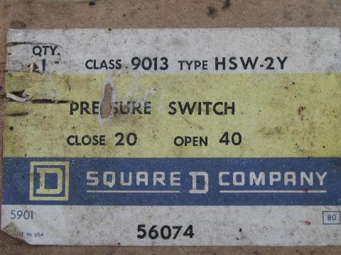 square d pressure switch instructions