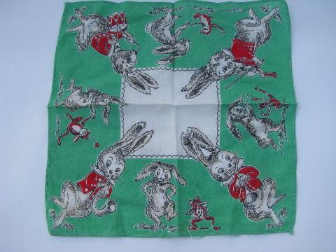 novelty print cotton child's handkerchiefs, vintage childrens hanky lot