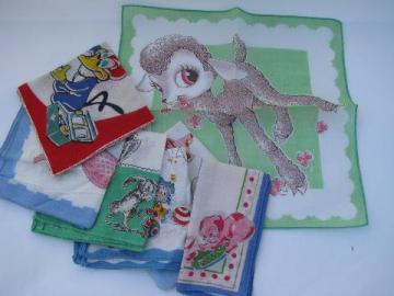 novelty print cotton child's handkerchiefs, vintage childrens hanky lot