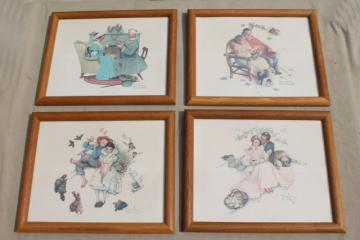 oak framed Norman Rockwell prints set, four ages of love, seasons & stages of life