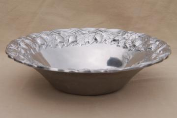oak leaf & acorn RWP Wilton Armetale serving / salad bowl, vintage pewter