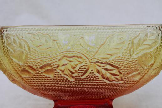 oak leaf & acorn pattern glass box in fall colors, red & gold amberina