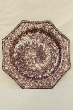 octagonal spongeware plate, Metropolitan Museum of Art reproduction antique Whieldon tortoiseshell