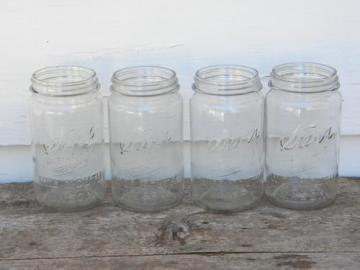 old 1 qt Kerr Self-Sealing Mason wide mouth canning jars, lot of 4