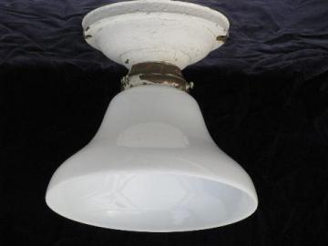 old 1920s- 30s solid brass ceiling light, original vintage glass shade
