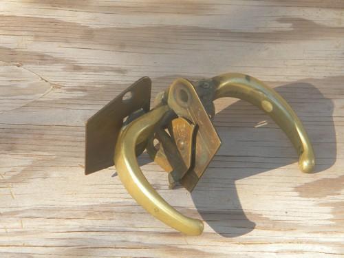 - Old 1930s Deco Vintage Solid Brass Screen Or Porch Door Latch Handle