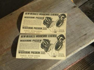 old 1930s or 1940s Wolverine Pigskins work shoes advertising postcards
