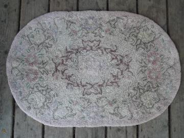 old 1940s vintage hand hooked rug, faded flowers shabby cottage style