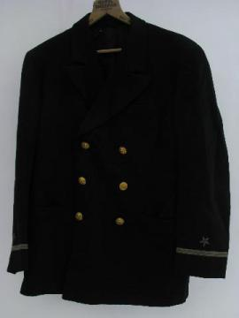 old 1944 World War Two Navy officer's coat w/bullion patches