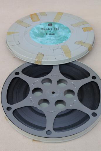 16mm Reel Movie Projectors: Old 1950s 16mm Movie Film Reels W/ Mailing Cases Vintage