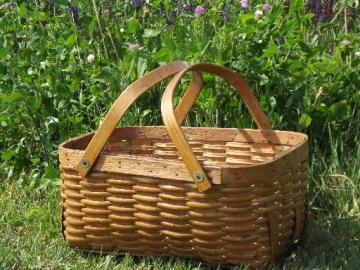 old 1950s vintage wood splint picnic basket hamper w/ wooden handles