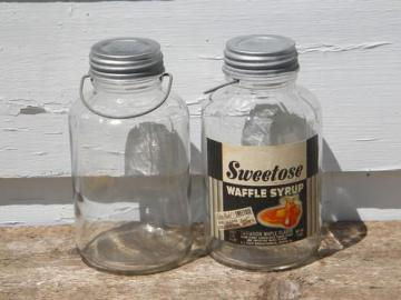 old 2 qt glass storage jars w/wire handles, vintage breakfast syrup label