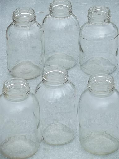 old 2 quart glass jar canning jars or storage canisters, 40s 50s vintage
