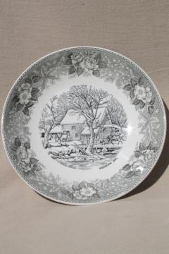 old Adams England Currier & Ives print china bowl Frozen Up grey black transferware