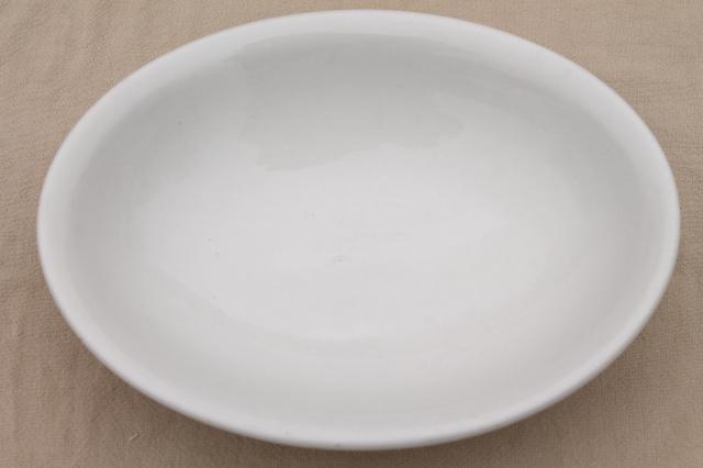 old American ironstone china bowls, large oval serving dishes, plain pure white
