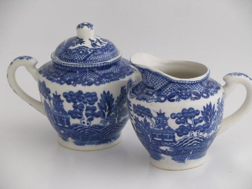 Old Blue Willow China Cream Pitcher And Sugar Bowl Set