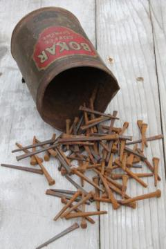 old Bokar coffee can of antique square cut nails, farm primitive hardware