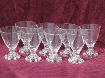 old Boopie glass candlewick beads pattern footed wine or juice glasses