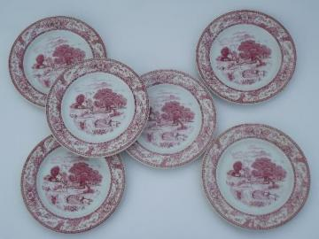 old Buffalo transferware china plates Fairview horse and rider, country farm home