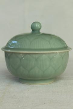 old Chinese celadon green lotus flower covered bowl, chop mark vintage pottery