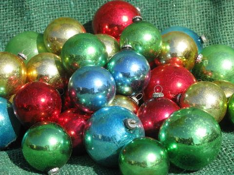 old christmas ornaments lot miniature feather tree glass balls vintage japan