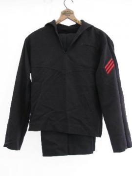 old, Cold War vintage, US work blues wool sailor's uniform, jumper & trousers