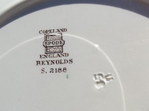 old Copeland Spode china two-tiered plate, Reynolds fruit and flowers