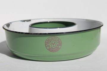 old Cream City Ware enamelware, vintage metal ring mold / pan, dark green enamel