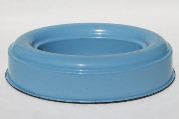 old Cream City enamelware, vintage metal ring mold / pan, rare oval in blue