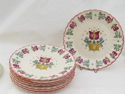 old Dutch gaudy tulips folk art pattern, vintage American Limoges china dinner plates