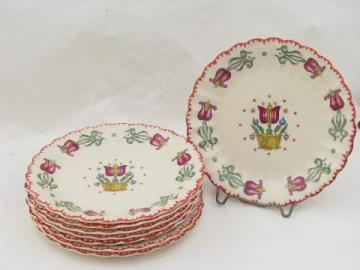 old Dutch gaudy tulips folk art pattern, vintage American Limoges china plates