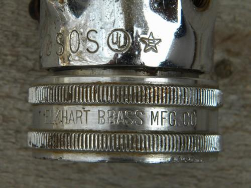 old Elkhart Brass Mfg industrial vintage firehose nozzle L200SOS fog/ss