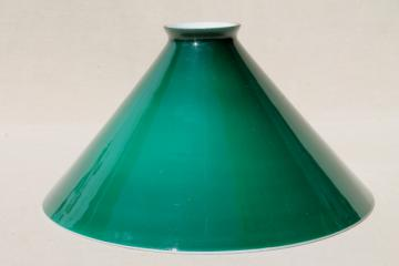old Emeralite green white cased glass shade, vintage lampshade for bankers lamp or student desk lamp