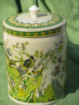 old English biscuit tin or tea canister, Elizabeth Shaw chinoiserie