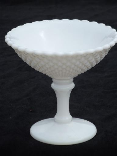 Old English Hobnail Pattern Milk Glass Compote Bowl