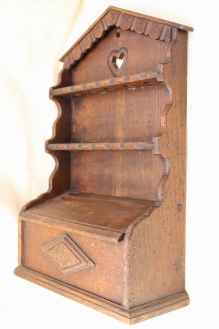 old English oak carved wood wall box spoon holder, vintage