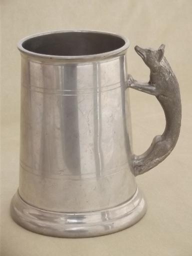 Old English Pewter Stein Figural Fox Handle Tankard