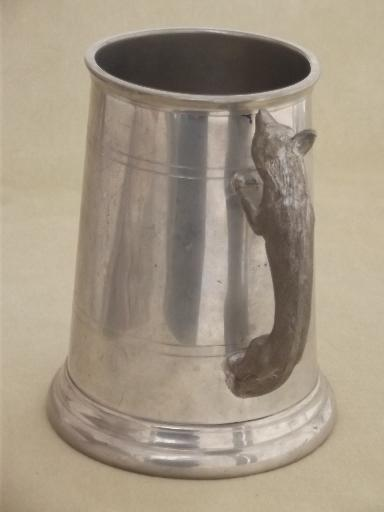 old english pewter stein figural fox handle tankard