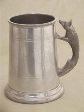 old English pewter stein, figural fox handle tankard hunting cup