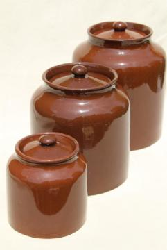 old English redware pottery canister jars, Price - England vintage pantry crocks