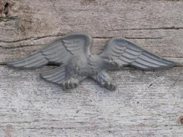 old Federal eagle wall plaque, carved architectural medallion in cast metal