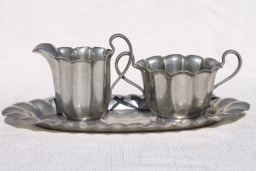 old Flagg & Homan pewter cream & sugar set - fluted pitcher, sugar bowl and tray