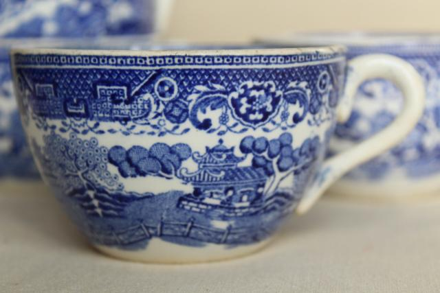old French faience, vintage blue willow       pattern china cups made in France