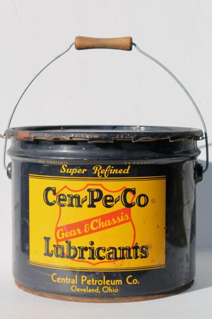 old Gear & Chassis Central Petroleum label, vintage metal bucket grease can